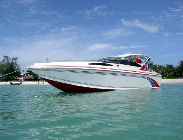 Speedboat anchored near beach in Thailand